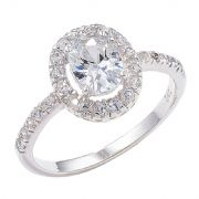 Sterling silver Oval cut Cubic zirconia halo ring